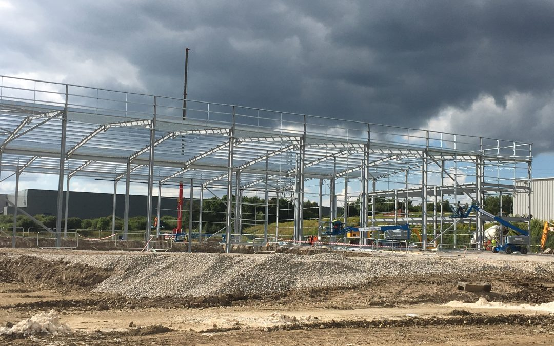 Structural Steelwork – Logistics North, Plot F – Bolton – Onsite Steel Erection Begins