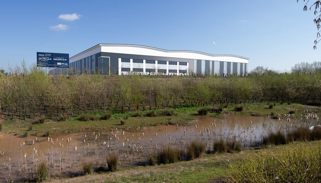 Photograph of Crewe-Distribution-Centre-in-natural-setting--Constructed-by-JDPierce-Contracts-Ltd