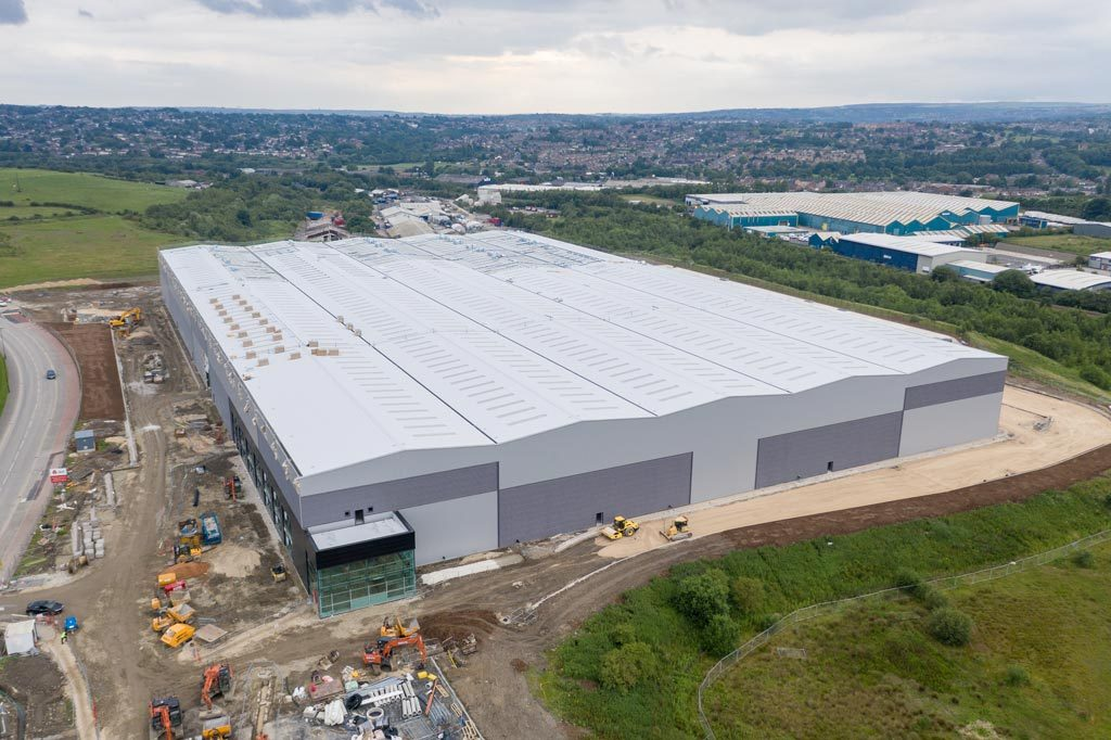 Aerial View of Large Warehouse in Sheffield