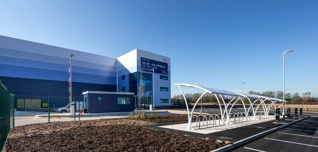 Photograph of Gazeley Warehouse -Stoke-steel structure -front-entrance-showing-steel-construction-by-JD-Pierce-Contracts-Ltd