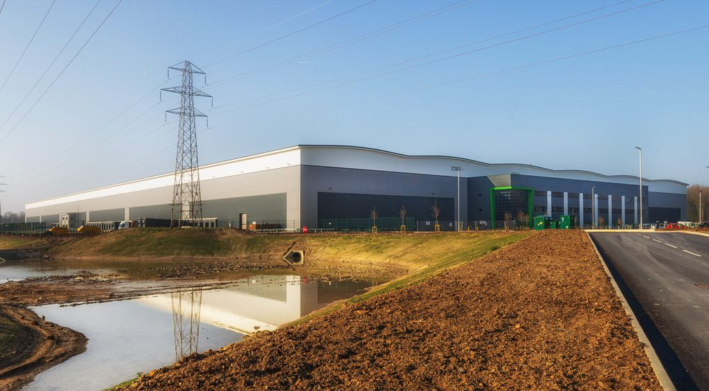 Photograph of Natural-environment-setting-of-Mulberry-Projects-Corby-Distribution-Centre-steelwork-and-construction-by-JD-Pierce-Contracts-Ltd-Scotland