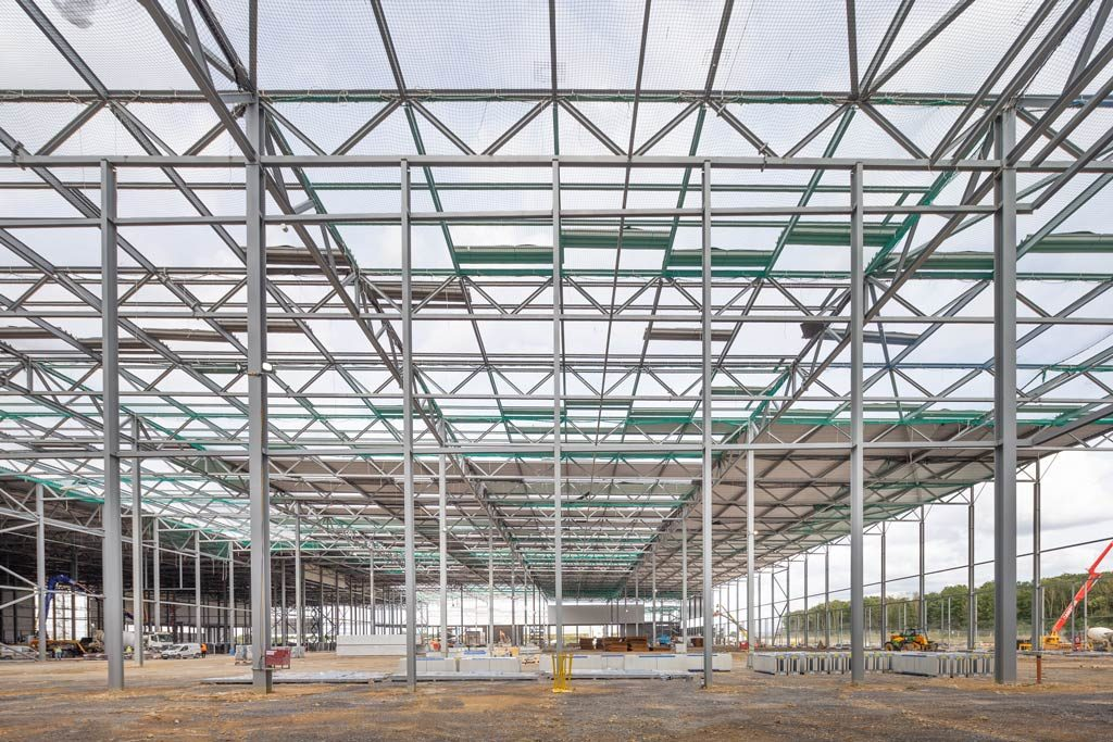 Photograph showing early phase of steel construction of distribution-warehouse-for-Lidl-Peterborough by JD Pierce Contracts Ltd.