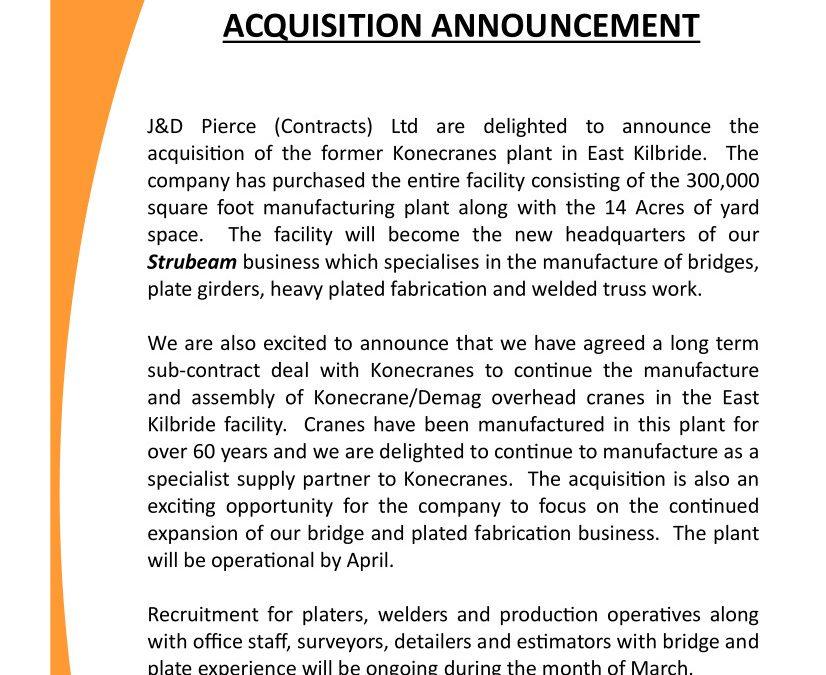 Konecranes East Kilbride Acquisition Announcement