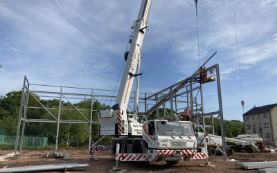 First Steel Erected at Bangholm Outdoor Centre